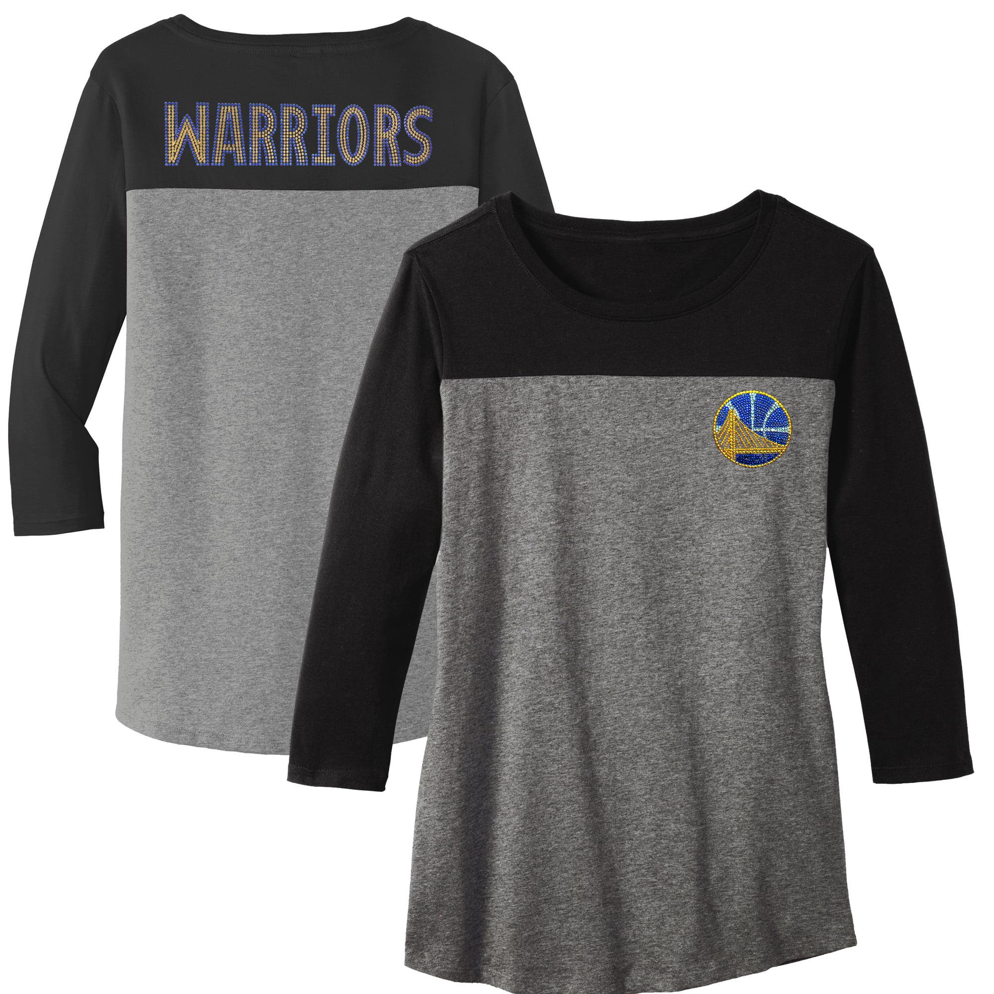 Golden State Warriors Women's Rally Rhinestone Color Blocked 3/4 Sleeve T-Shirt - Gray
