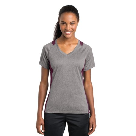 Sport-Tek® Ladies Heather Colorblock Contender™ V-Neck Tee. Lst361 Vintage - image 1 de 1