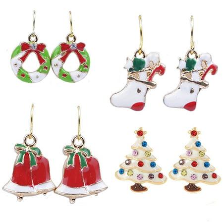 4 Pr. Christmas Earrings Christmas Tree Christmas Bells Christmas Reef and Stockings J-MX11