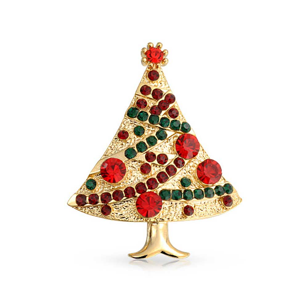 Bling Jewelry Christmas Tree Brooch Simulated Garnet Crystal Gold Plated by Bling Jewelry