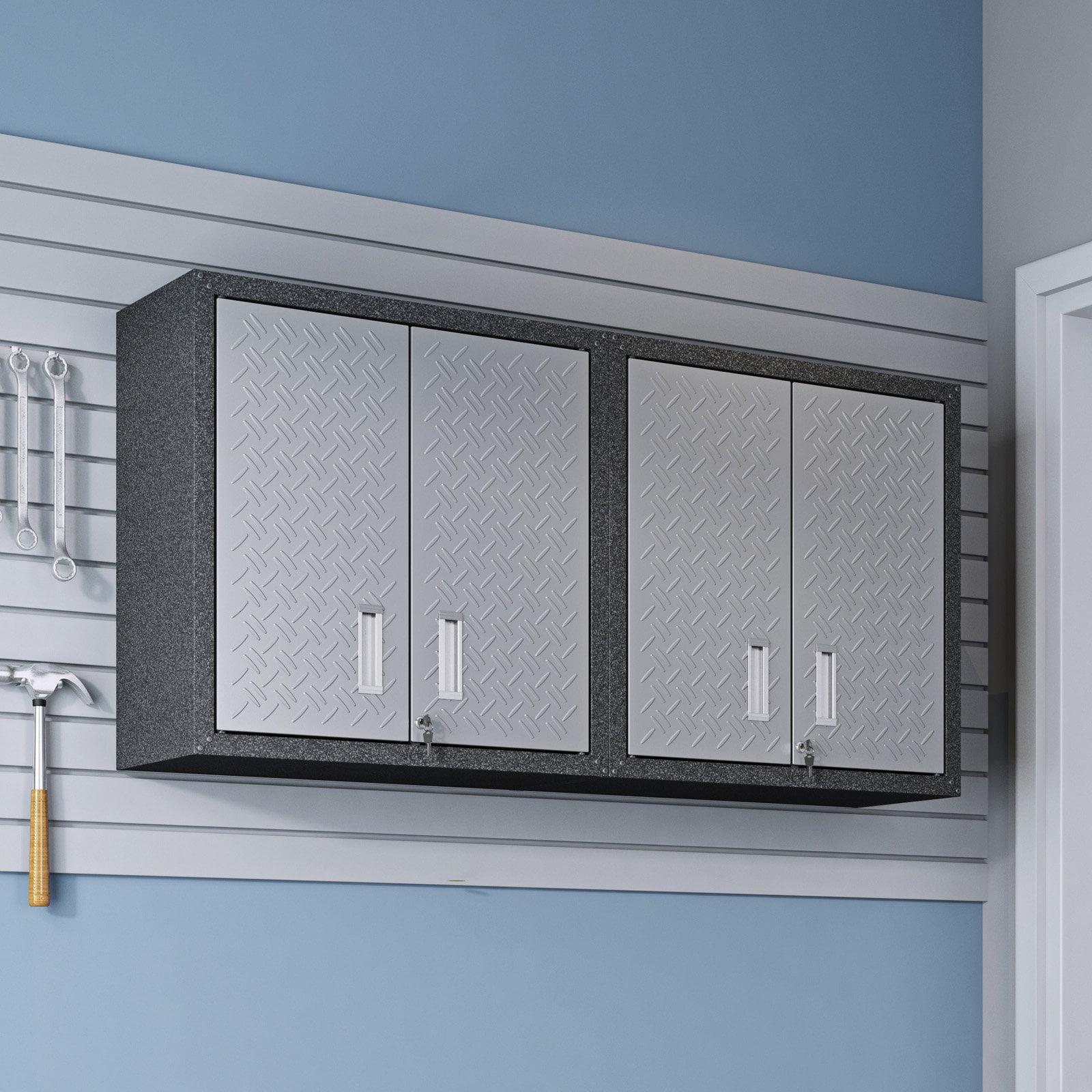 Manhattan Comfort Fortress Double Floating Textured Metal Garage Cabinet
