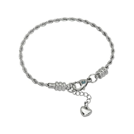 Charm Bracelet For Women, Stainless Steel Rope Chain, Fits Pandora Charms, Lobster Claw Clasp, 7.5 Inch (19 cm) ()