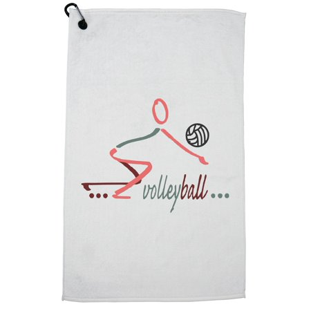 Trendy Volleyball Player Bumping Ball Stick Figure Golf Towel with Carabiner Clip