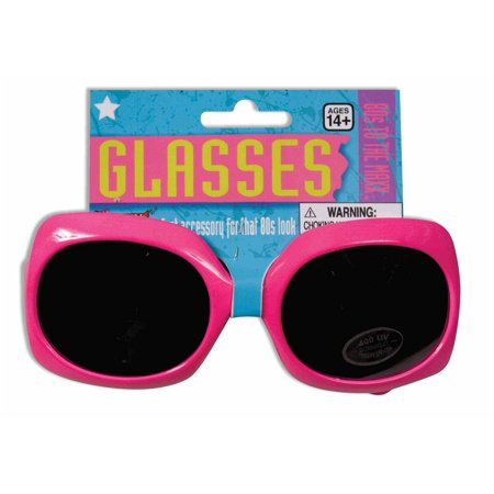 80s Neon Pink Square Glasses - Accessories From The 80s