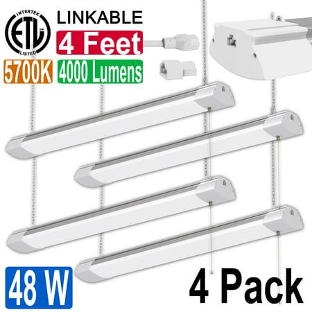 4 Pack 48W 4ft LED Shop Light Bright White Garage Workbench Ceiling Utility Linkable Light (Best Lights For Garage Ceiling)
