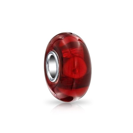 Solid Fiery Red Murano Glass 925 Sterling Silver Core Spacer Bead Fits European Charm Bracelet For Women For Teen