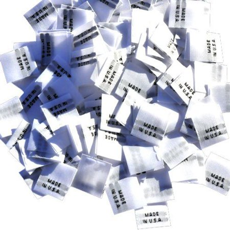 500 WOVEN CLOTHING LABELS WHITE WITH BLACK LETTERING, MADE IN U.S.A. (500 labels/pack)