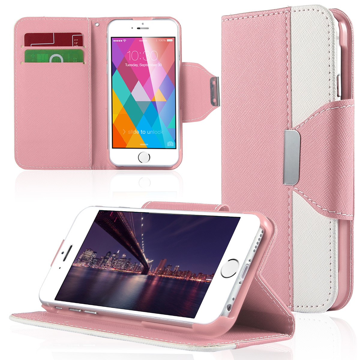 ULAK Dual Color Wallet Case with Card Slots for Apple iPhone 6S 6 4.7 Inch(Pink/White)