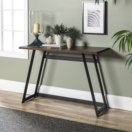 info for a1415 d0068 Manor Park Rustic Wood and Metal Console Table - Dark Walnut