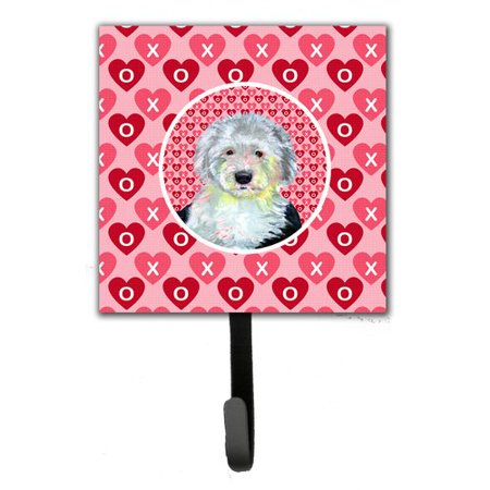Caroline's Treasures Old English Sheepdog Valentine's Love and Hearts Leash Holder and Key Hook