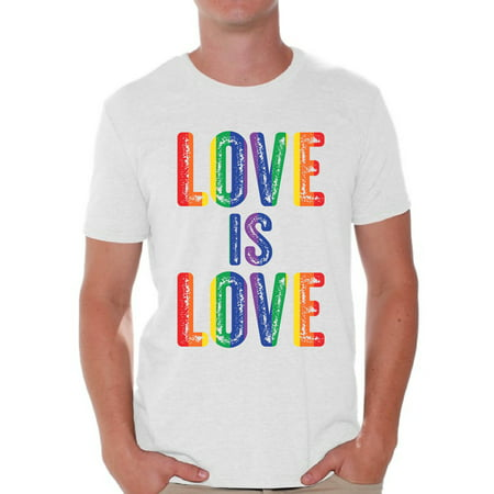 Awkward Styles Love is Love Shirt for Men LGBTQ Shirts Gay Pride Gifts for Him Men's Love Is Love Graphic T-shirt Tops Love Graphic T-shirt Tops