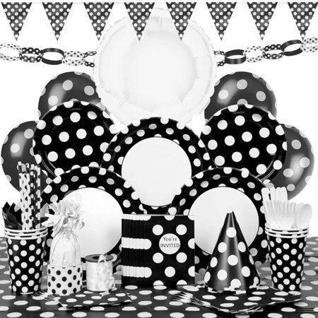 Deluxe Black Polka Dot Party Supplies Kit for 8 - Polka Dot Party Ideas