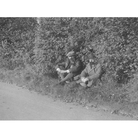Two men taking a rest during the Bugatti Owners Club car treasure hunt, 25 October 1931 Print Wall Art By Bill