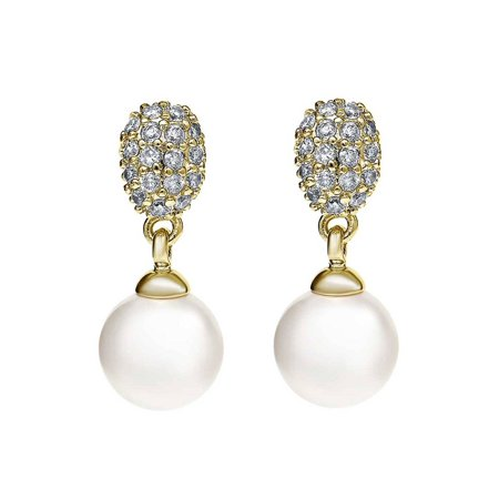 Lustrous 6mm Simulated Pearl Gold Tone Dangle Earrings with Gorgeous White (Gorgeous Pearl Set)