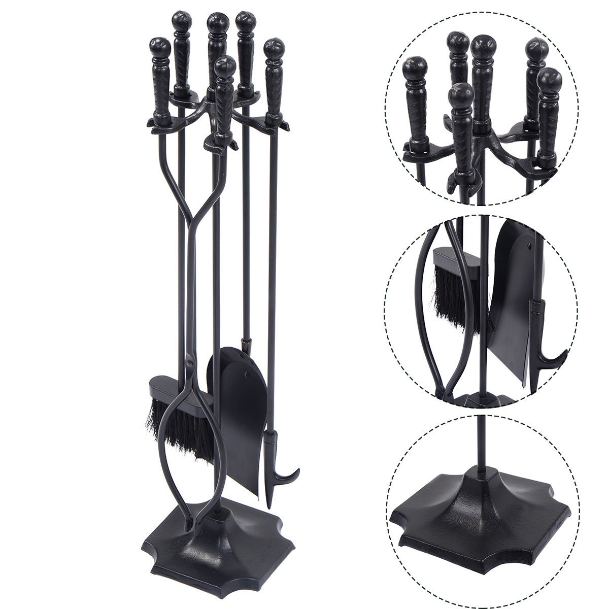 Costway 5 PCS Hearth Tool Fireplace Set Fire Tools Set Black Home 31'' Pedestal Base by Costway