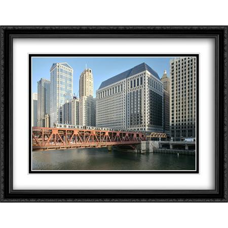 Wells Street Bridge  Chicago 2X Matted 36X28 Large Black Ornate Framed Art Print By The Cityscape Art Print Series