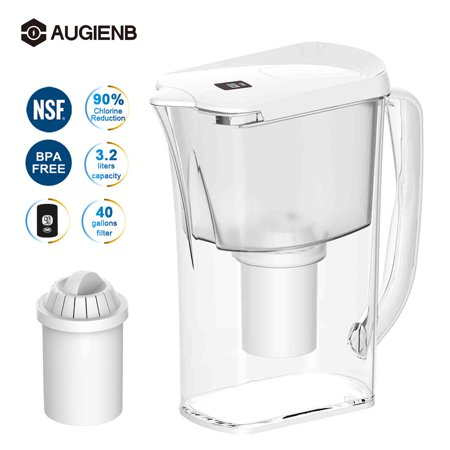 AUGIENB 10 Cup 4 Stage Everyday Water Pitcher with Filter System - BPA Free - White - 3.2L