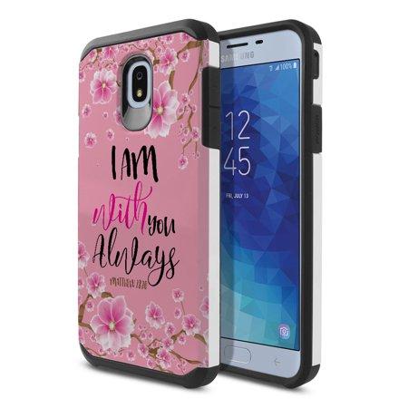FINCIBO Dual Layer Hybrid Case Hard Plastic TPU Slim Back Cover for Samsung Galaxy J7 J737 2018, Matthew 28:20 Falling Baby Pink Cherry -