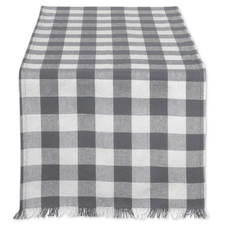 DII Gray Heavyweight Check Fringed Table Runner, 72 x 14