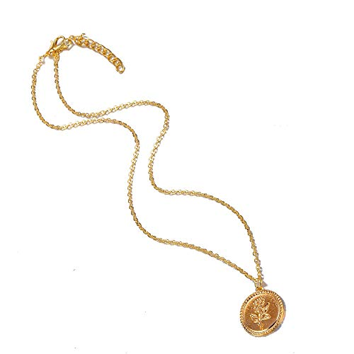 Silver Plated Alloy Simple Round Disc Rose Pendant Chain Choker Short Necklace (Gold)