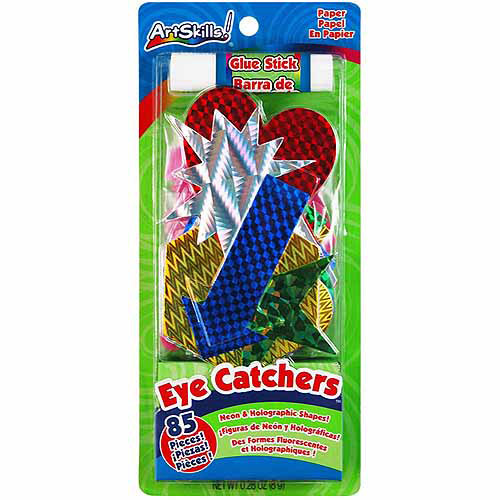 Artskills Eye Catchers Neon & Holographic Shapes, 85/pkg, With Glue Stick