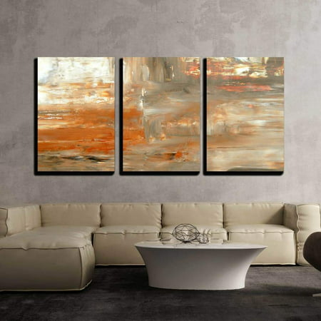 "wall26 - 3 Piece Canvas Wall Art - Brown and Beige Abstract Art Painting - Modern Home Decor Stretched and Framed Ready to Hang - 24""x36""x3 Panels"