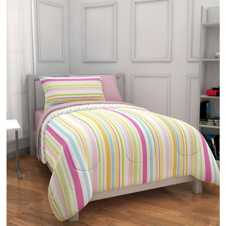 mainstays kids pink rally stripe bed in a bag bedding set. Black Bedroom Furniture Sets. Home Design Ideas