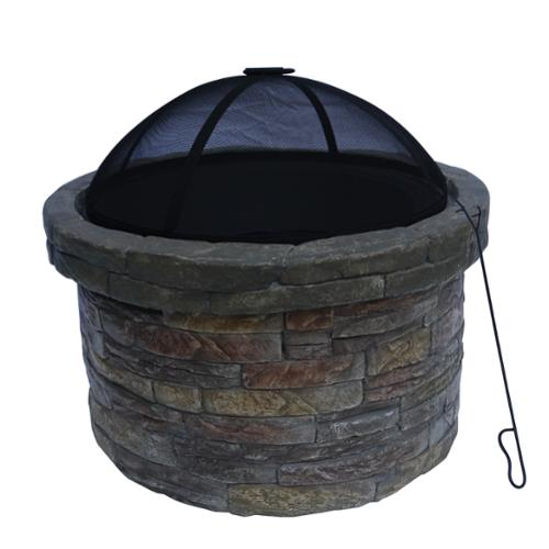 Teamson Design Corp. Peaktop Outdoor Round Stone Firepit with Cover by Overstock
