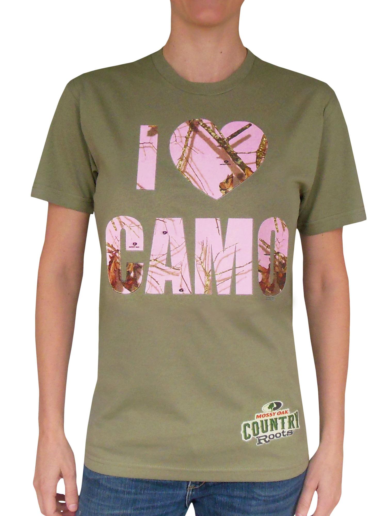 2b95d36b09a40 MOSSY OAK NWT Womens Tee T Shirt L Black Pink Camouflage Top .