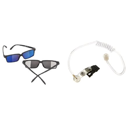 Spy Detective Glasses Look Behind Secret Agent Earpiece Ear Piece Costume Kit