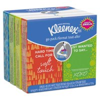 Kimberly-Clark 46651CT On The Go Packs Facial Tissues, 3-ply, White, 10 Sheets/pouch, 8 Pouches/pack, 12 Packs/carton