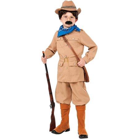Theodore Roosevelt Costume, Small, Teddy Roosevelt Child Costume includes Jacket w/belt, jodhpurs, hat, bandana, glasses, moustache. By Forum Novelties