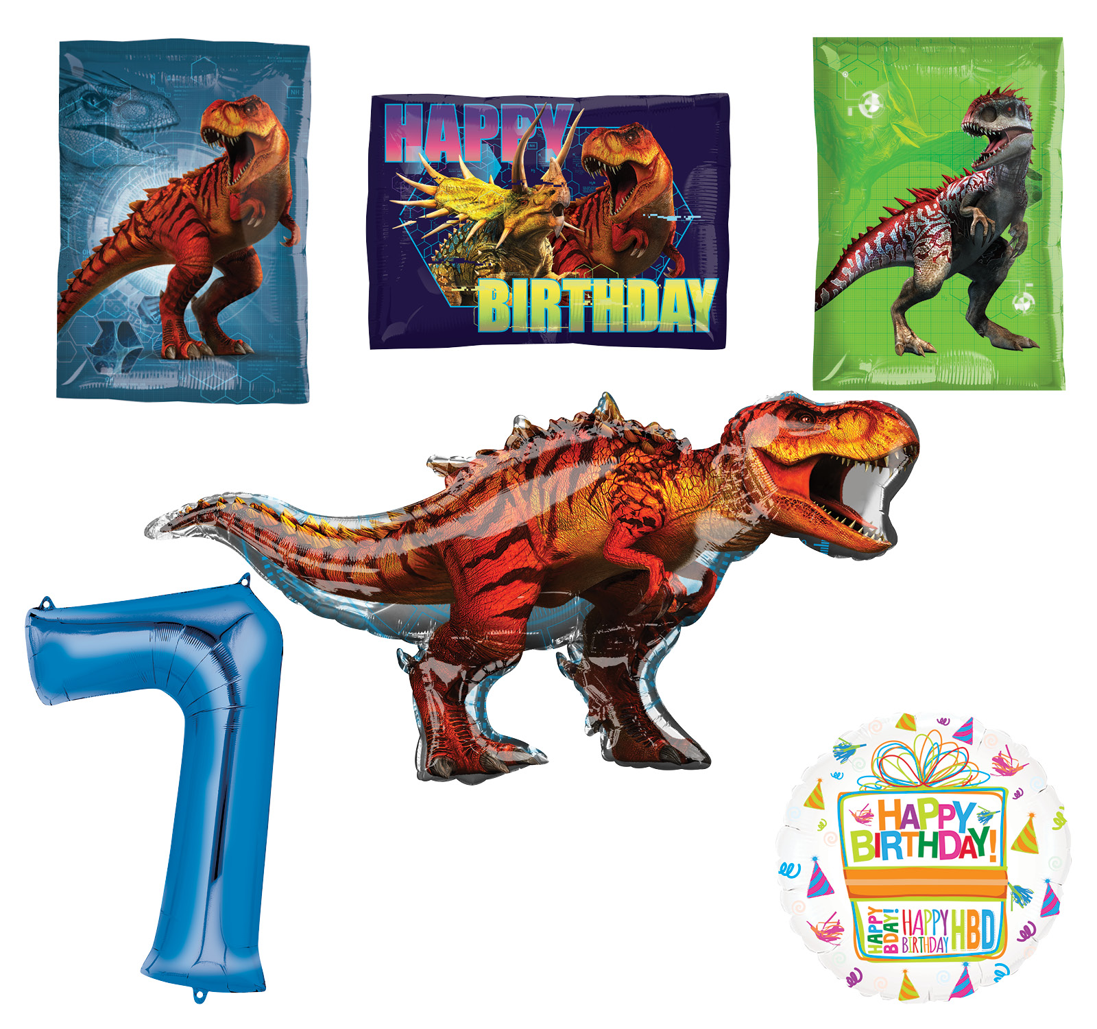 Jurassic World Dinosaur 7th Birthday Party Supplies and Balloon Decorations