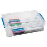 Advantus Super Stacker Large Pencil Box, 9 x 5 1/2 x 2 5/8, Clear