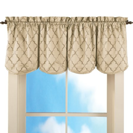 "Decorative Lattice 50""x18"" Rod Pocket Insulated Thermal Black Out Window Curtain Valance, Taupe"