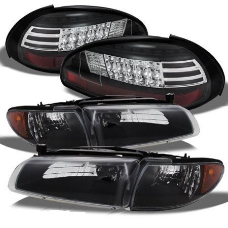 Fits 97-03 Grand Prix Black Bezel Headlights Replacement + LED Black Tail Lights - Tail Light Bezel Set