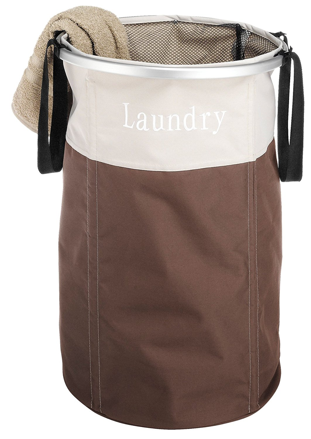 Easycare Round Laundry Hamper, Java, Ship from USA,Brand Whitmor by