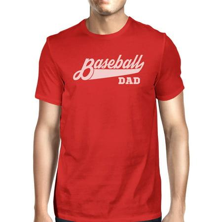 Baseball Dad Men's Red Unique Design T Shirt For Dad Birthday Gifts Baseball Gifts For Dad