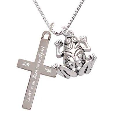 Silvertone Large Filigree Frog - I Set You Apart - Cross Necklace - Frog Necklace