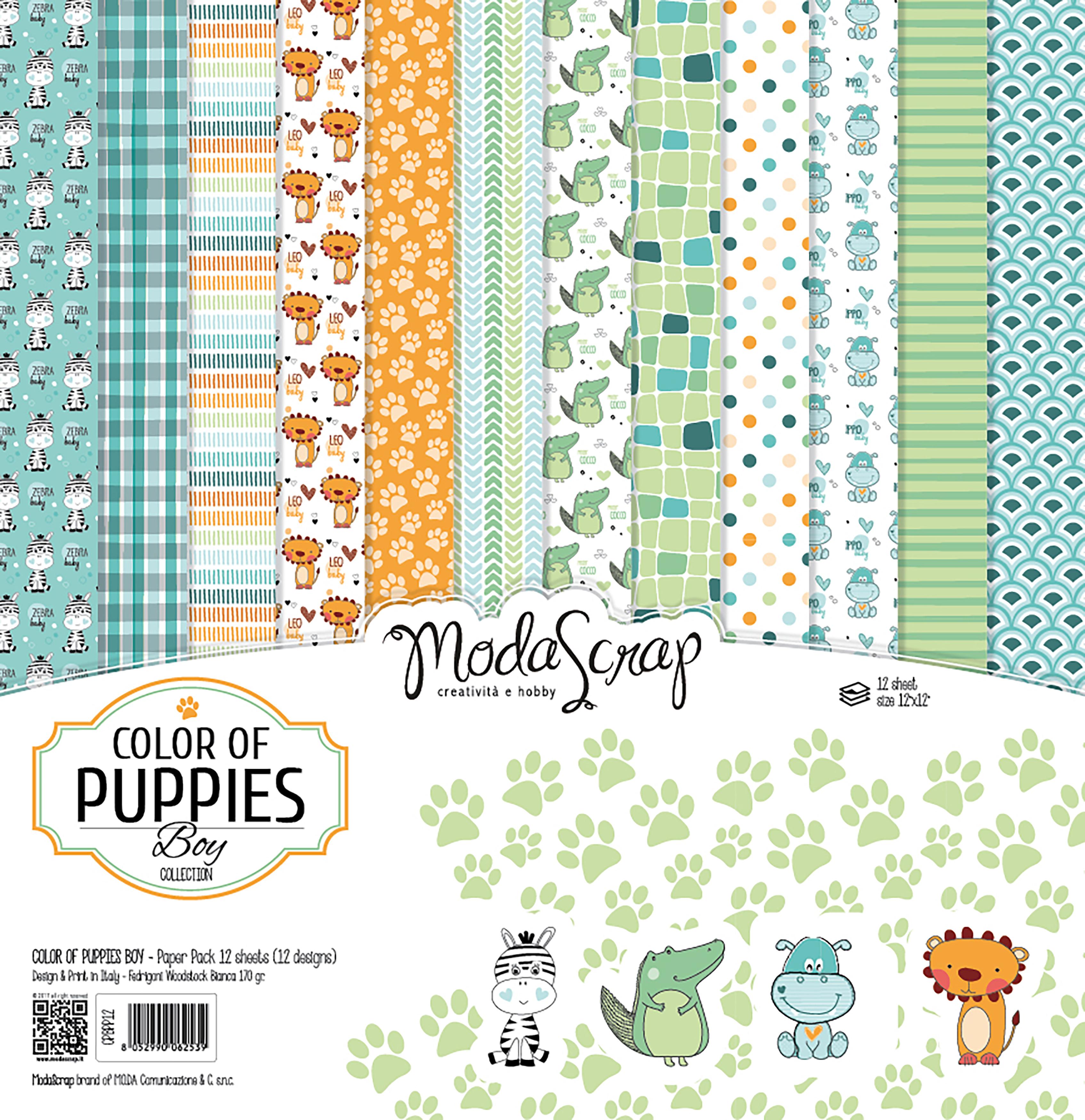 "Elizabeth Craft ModaScrap Paper Pack 12""X12"" 12/Pkg-Color Of Puppies Boy"