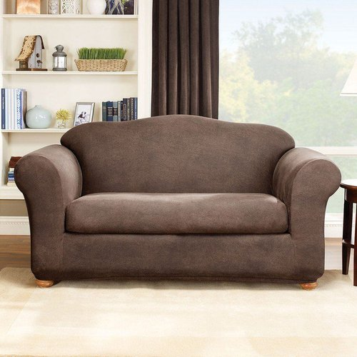 Sure Fit Slipcovers Stretch Leather 2-Piece Love Seat Slipcover