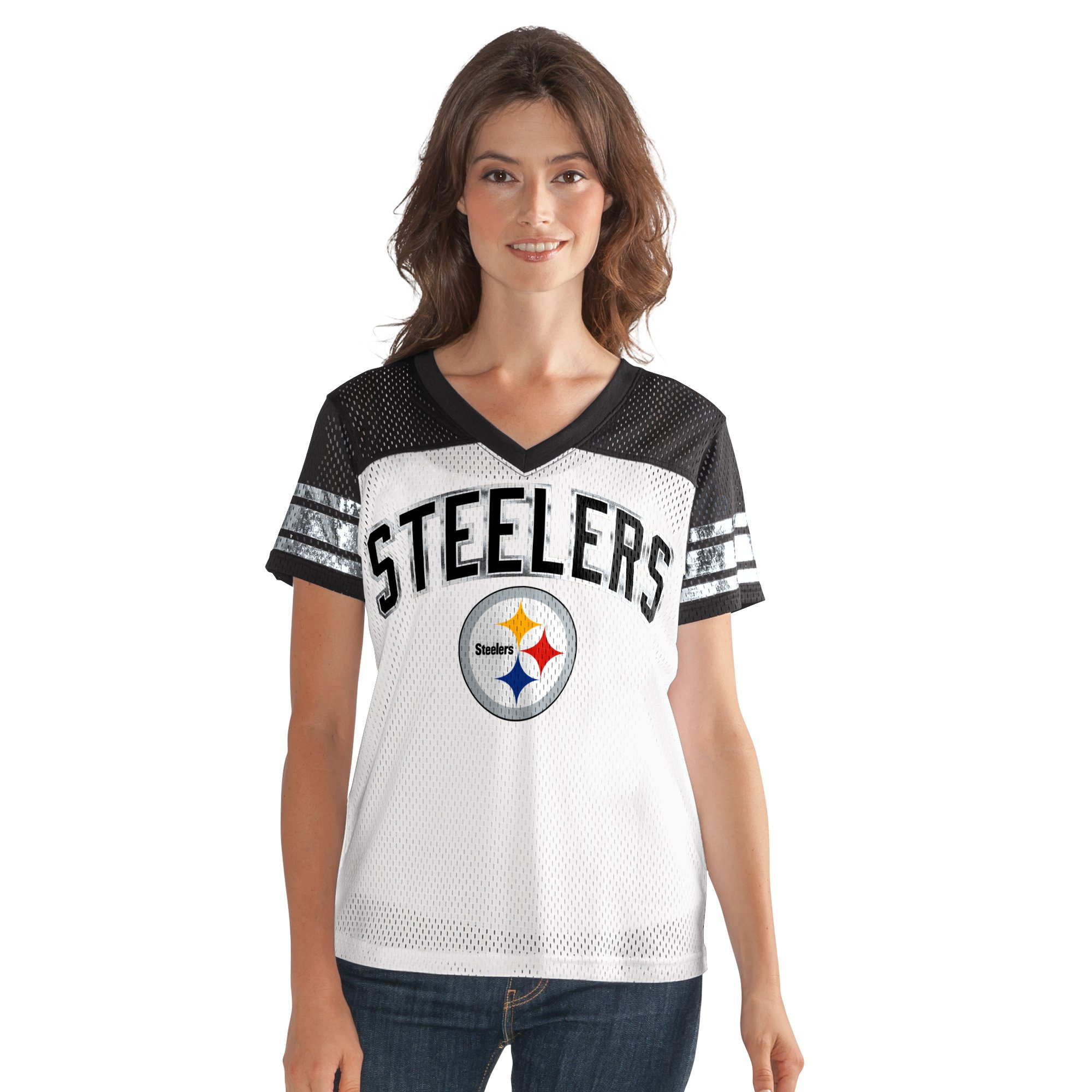 Pittsburgh Steelers All American Women's V-Neck Mesh Top T-Shirt