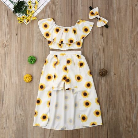 3Pcs Toddler Kids Baby Girls Off Shoulder Ruffle Crop Tops Sunflower Printed Shorts Dress Headband - Pari Dress For Kids