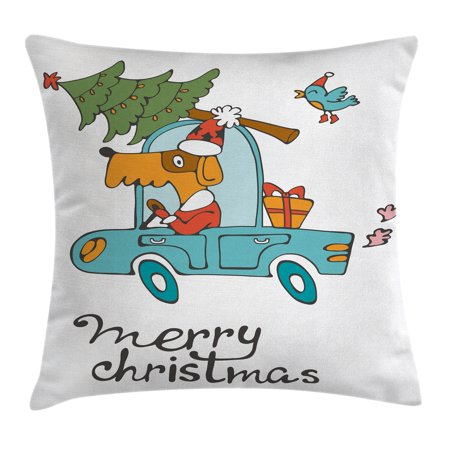 Christmas Throw Pillow Cushion Cover, Blue Vintage Car Dog Driving with Santa Costume Cute Bird Tree and Gift Present, Decorative Square Accent Pillow Case, 20 X 20 Inches, White Multi, by Ambesonne
