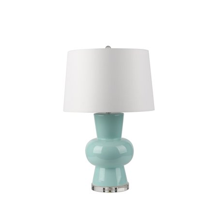 Benzara Contemporary Style Ceramic Table Lamp with Single Gourd Base, Teal Blue and White