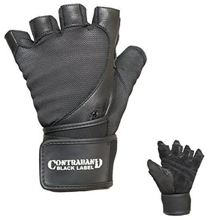 Contraband Black Label 5730 Mens Stretch Fit Wrist Wrap Gloves w/Split Leather Palm