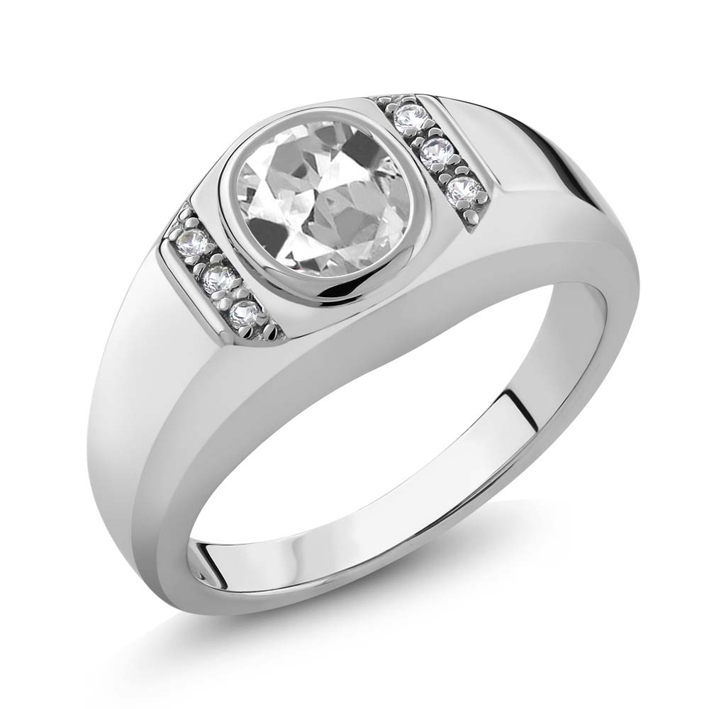 1.36 Ct Oval White Topaz White Created Sapphire 925 Sterling Silver Men's Ring by