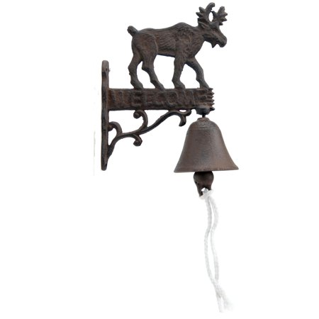 Cast Iron Dinner Bell - Moose Welcome - Distressed Brown