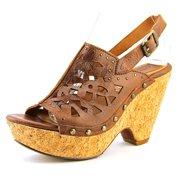 Fortune Women Open Toe Leather Brown Wedge Heel
