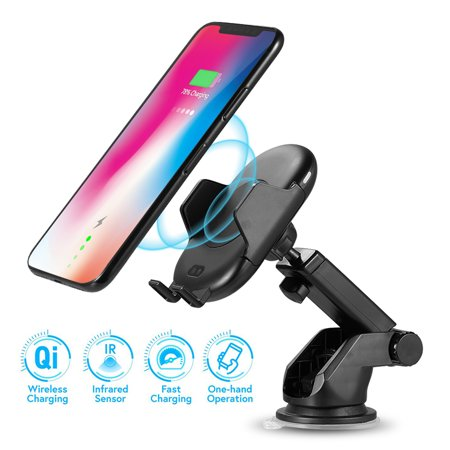 Luxmo Wireless Charger Car Mount Adjustable Auto-clamping